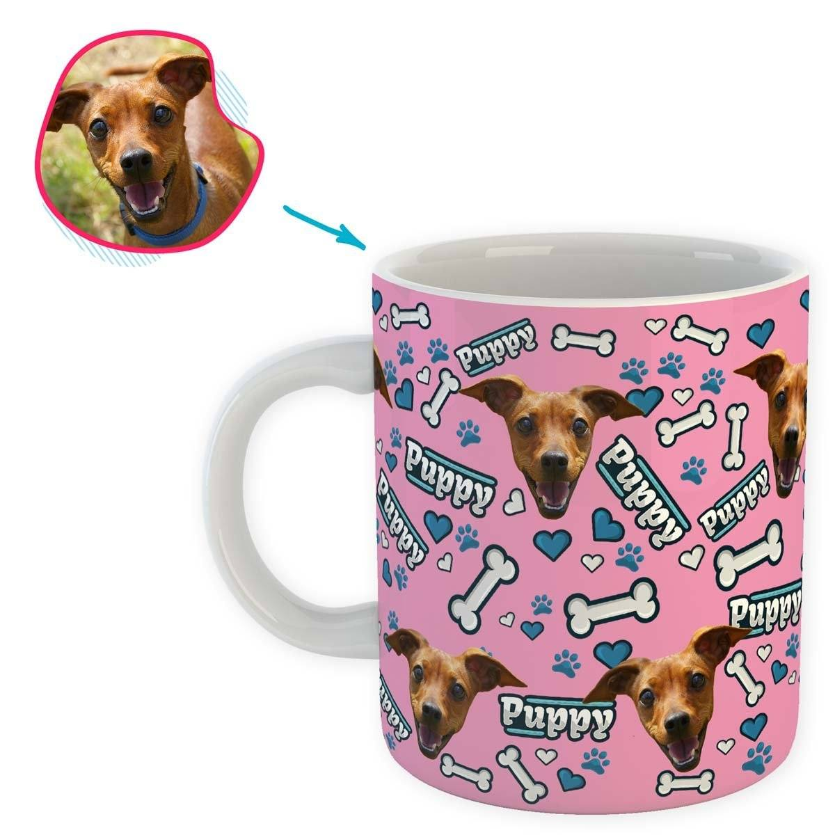 pink Puppy mug personalized with photo of face printed on it