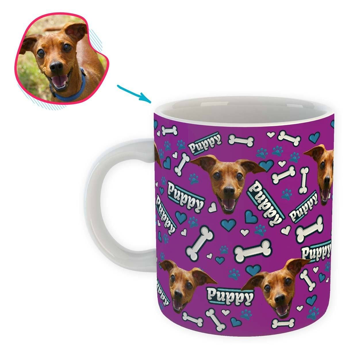 purple Puppy mug personalized with photo of face printed on it