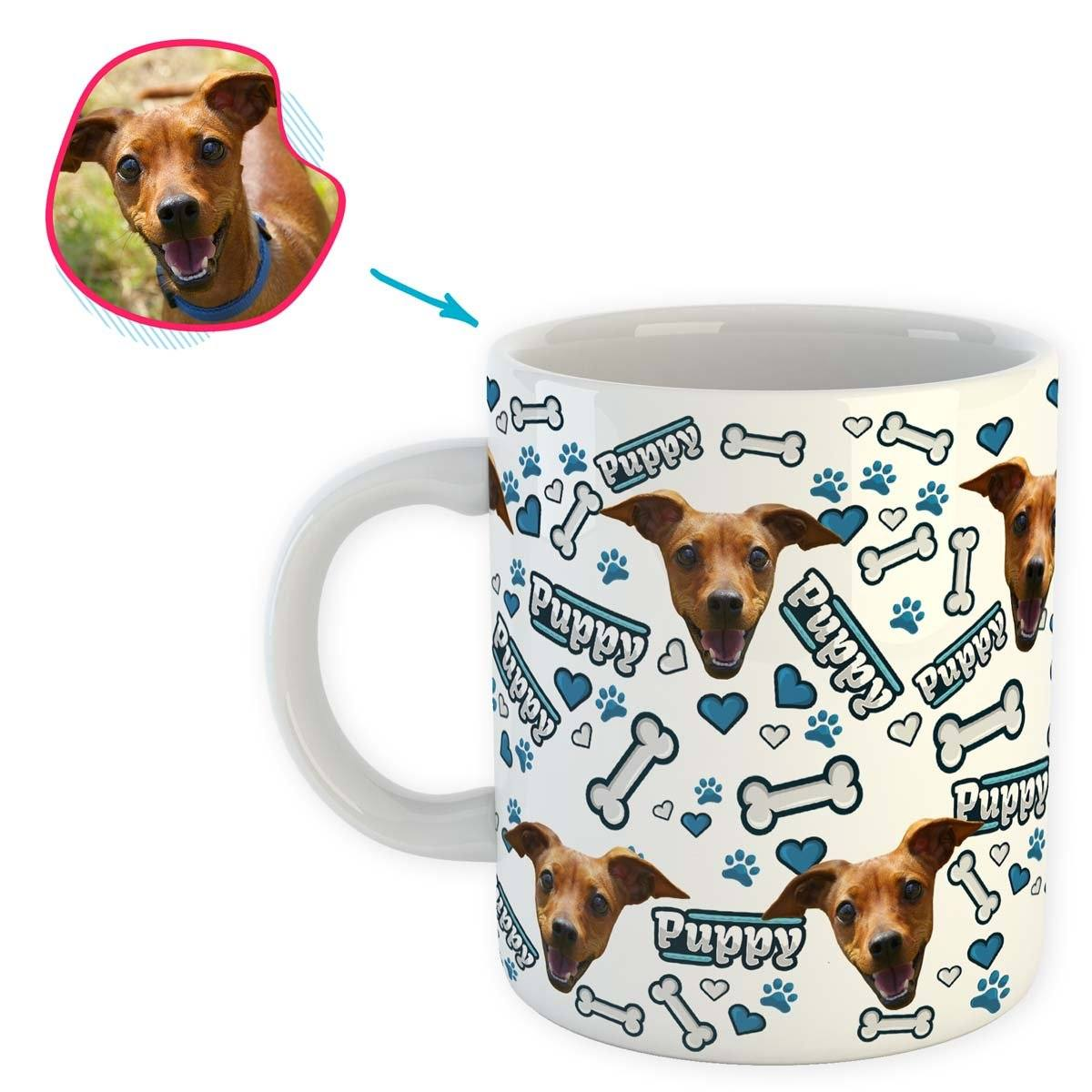 white Puppy mug personalized with photo of face printed on it