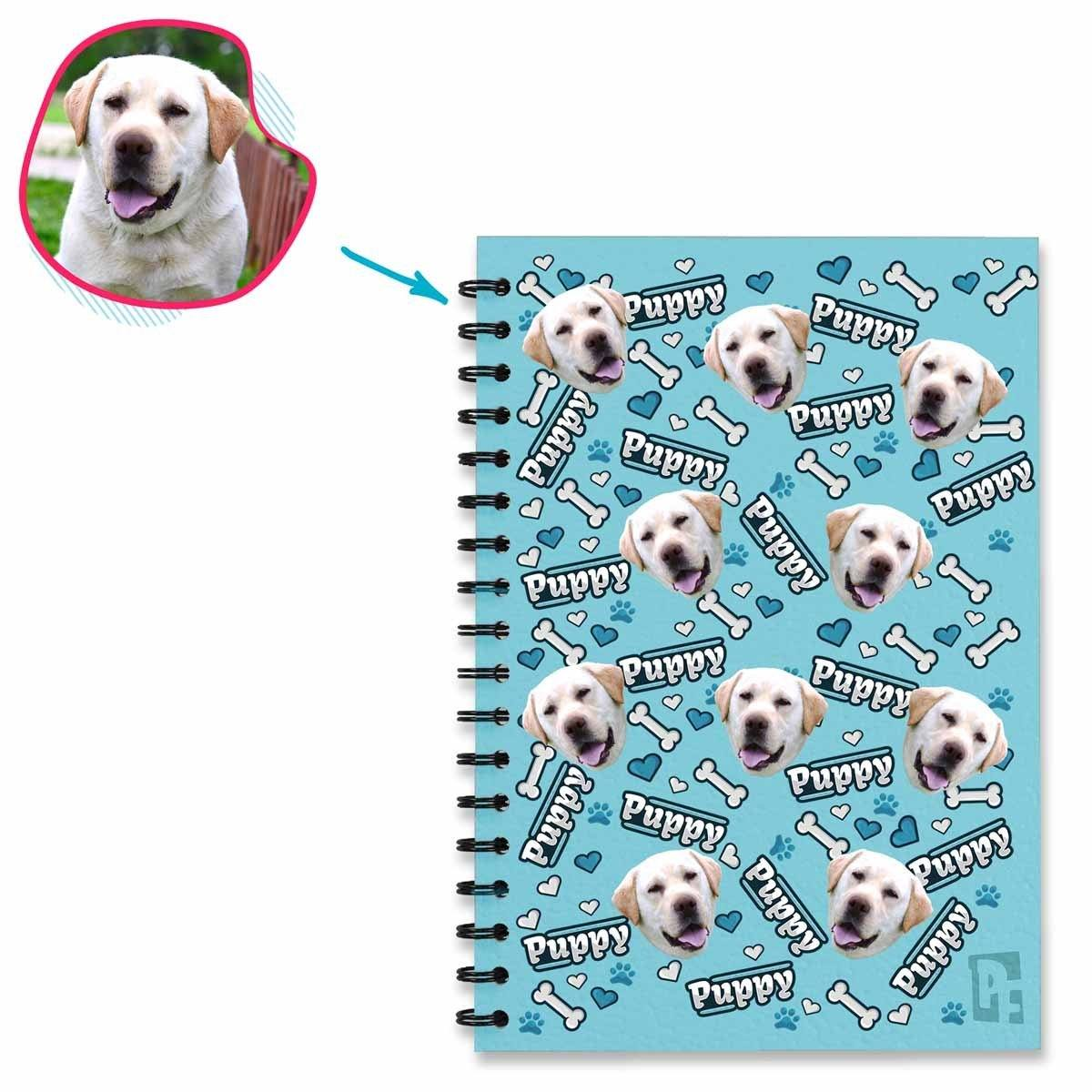 blue Puppy Notebook personalized with photo of face printed on them