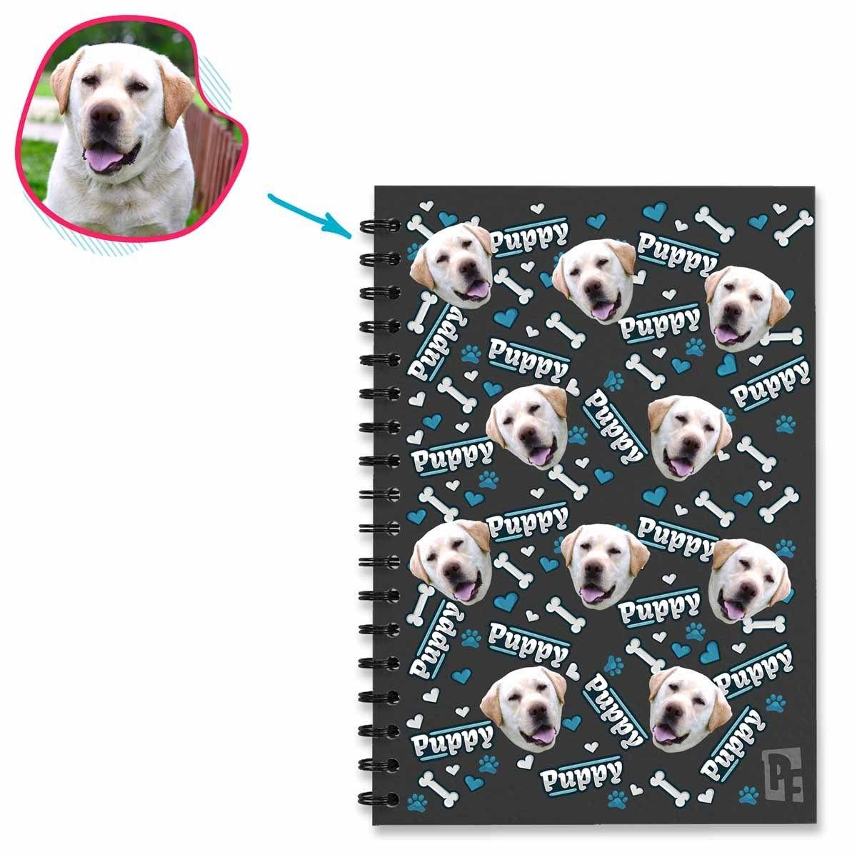 dark Puppy Notebook personalized with photo of face printed on them