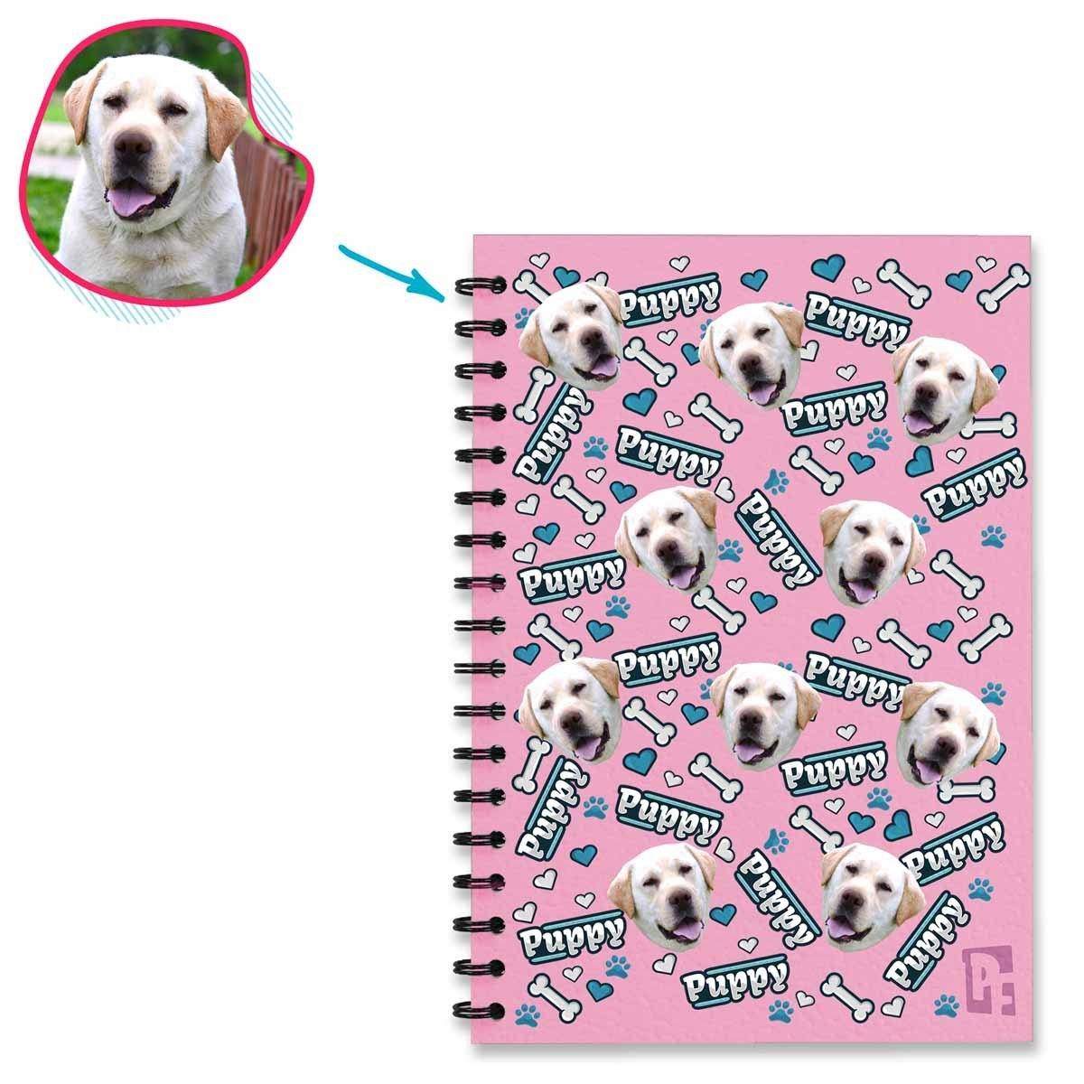 pink Puppy Notebook personalized with photo of face printed on them
