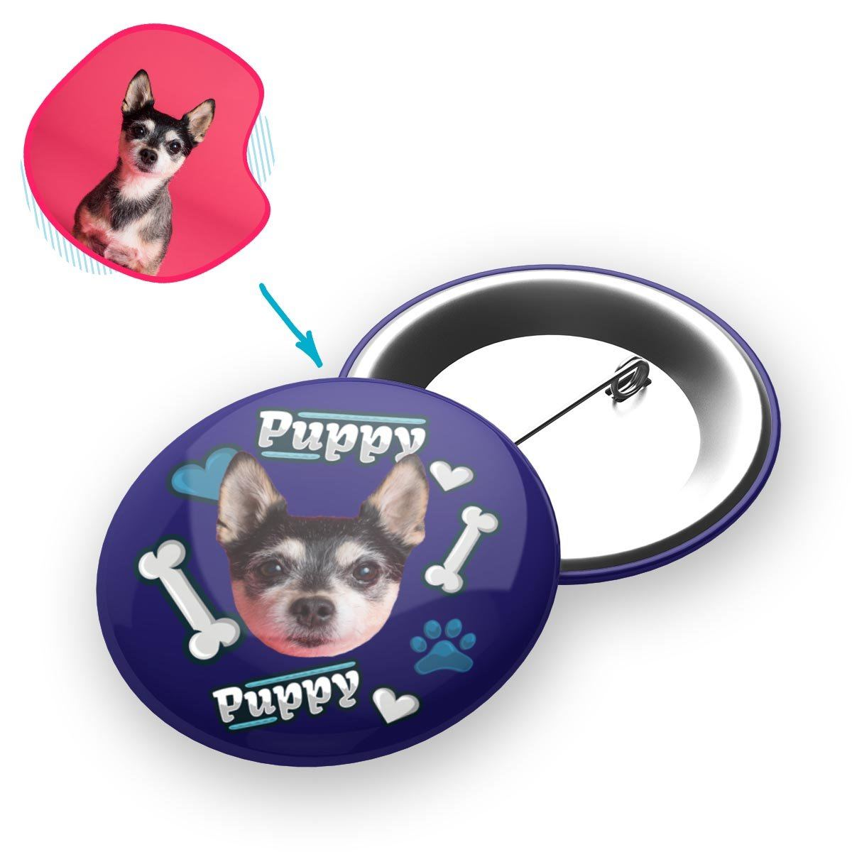 navy Puppy pin personalized with photo of face printed on it