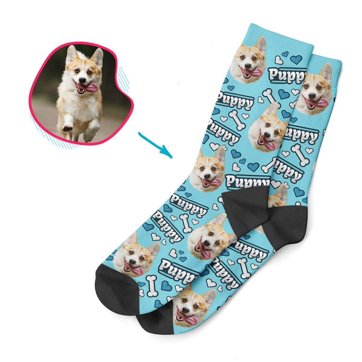 blue Puppy socks personalized with photo of face printed on them