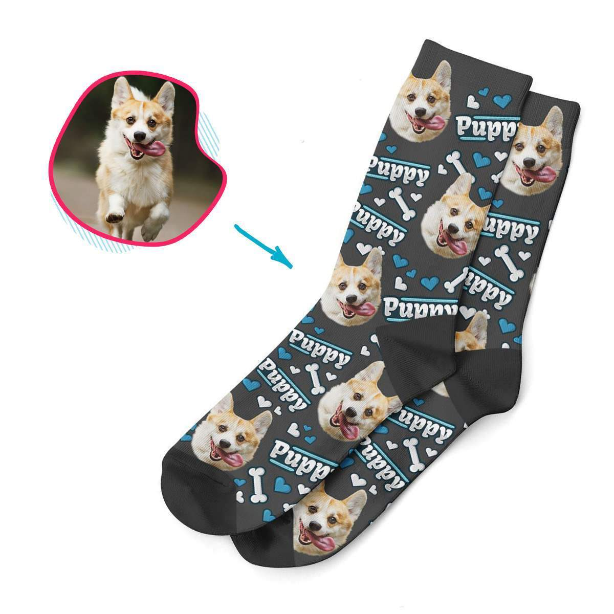 dark Puppy socks personalized with photo of face printed on them