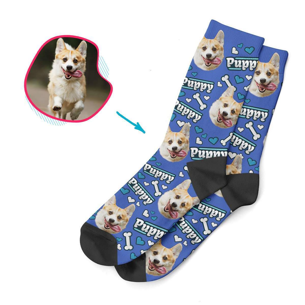 darkblue Puppy socks personalized with photo of face printed on them