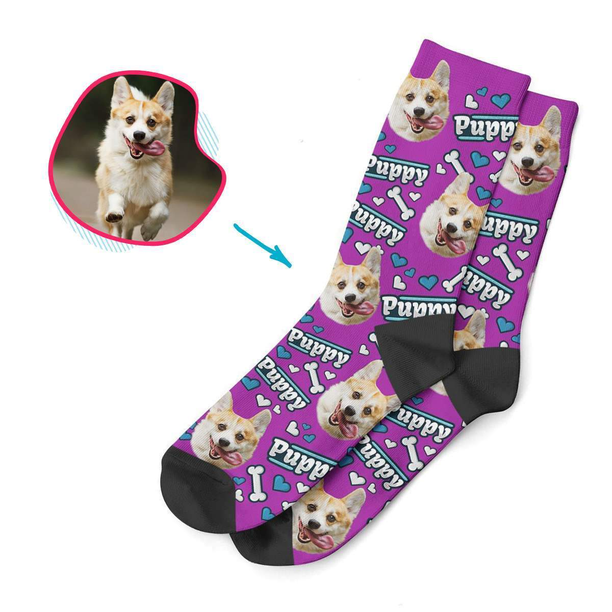 purple Puppy socks personalized with photo of face printed on them