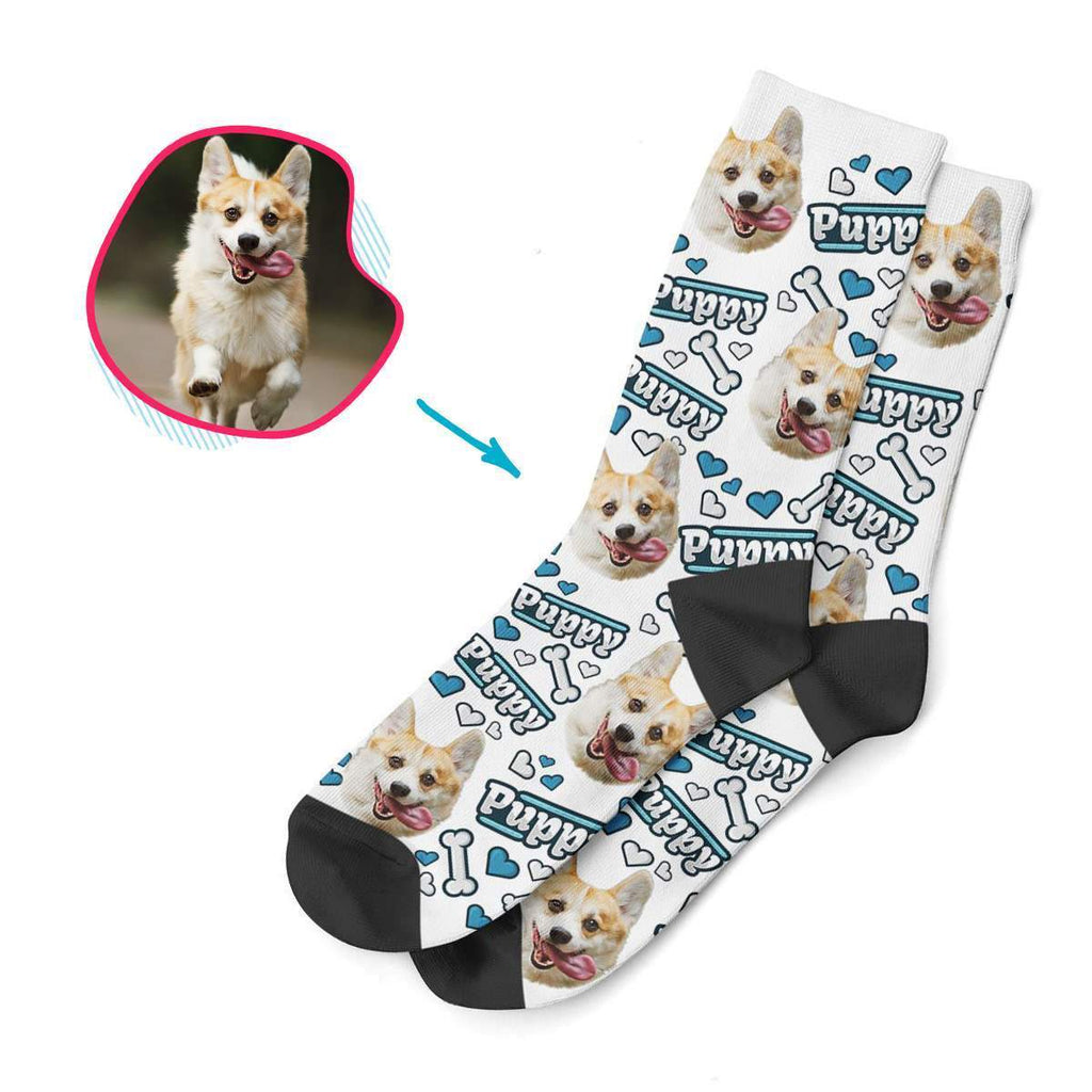 white Puppy socks personalized with photo of face printed on them
