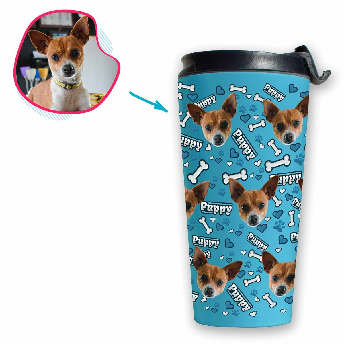 blue Puppy travel mug personalized with photo of face printed on it