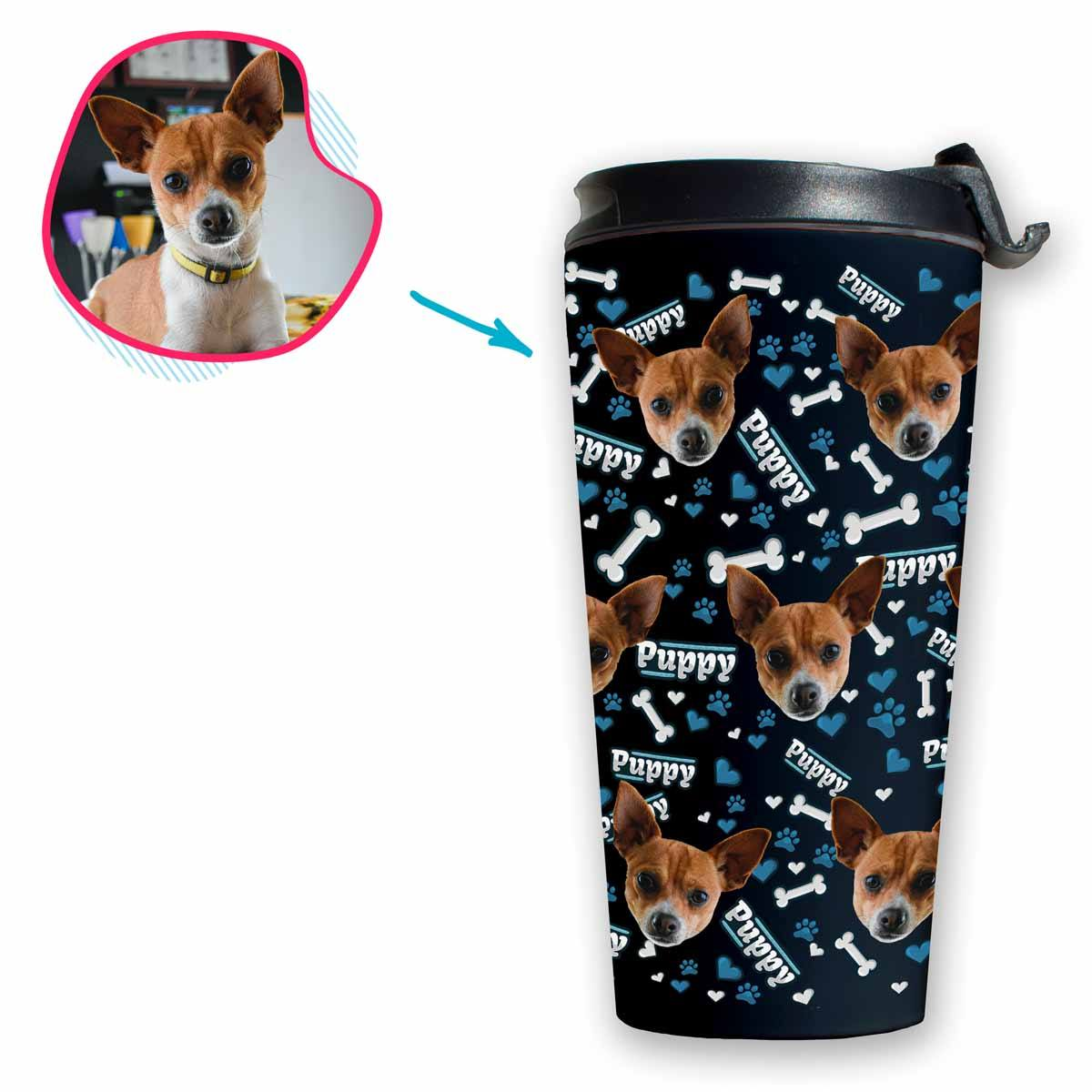 dark Puppy travel mug personalized with photo of face printed on it