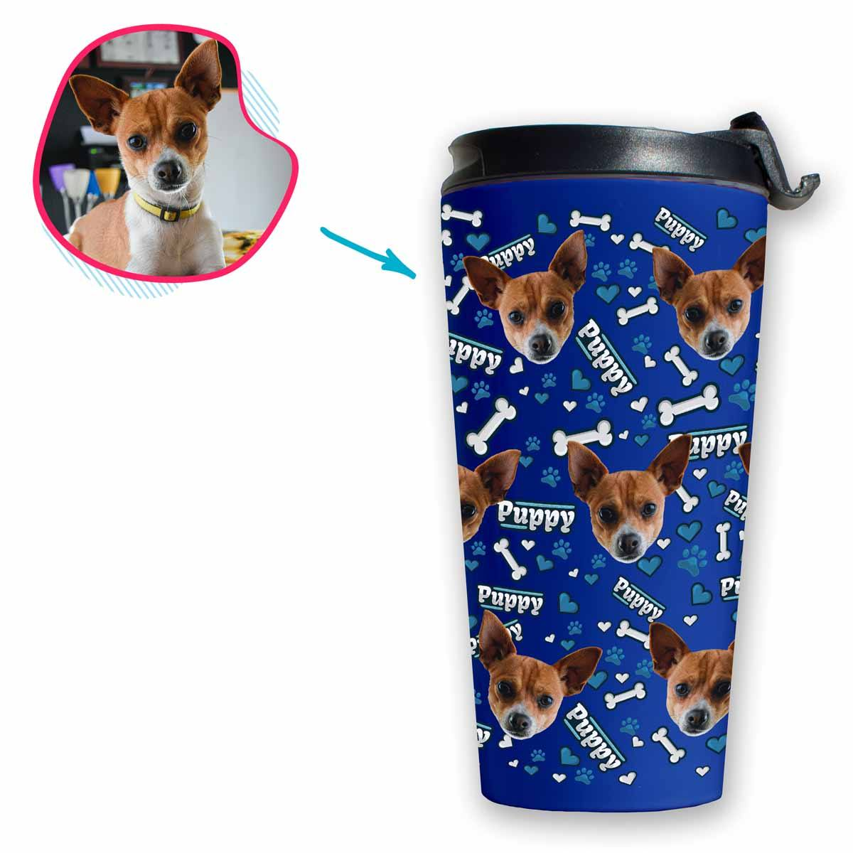 darkblue Puppy travel mug personalized with photo of face printed on it