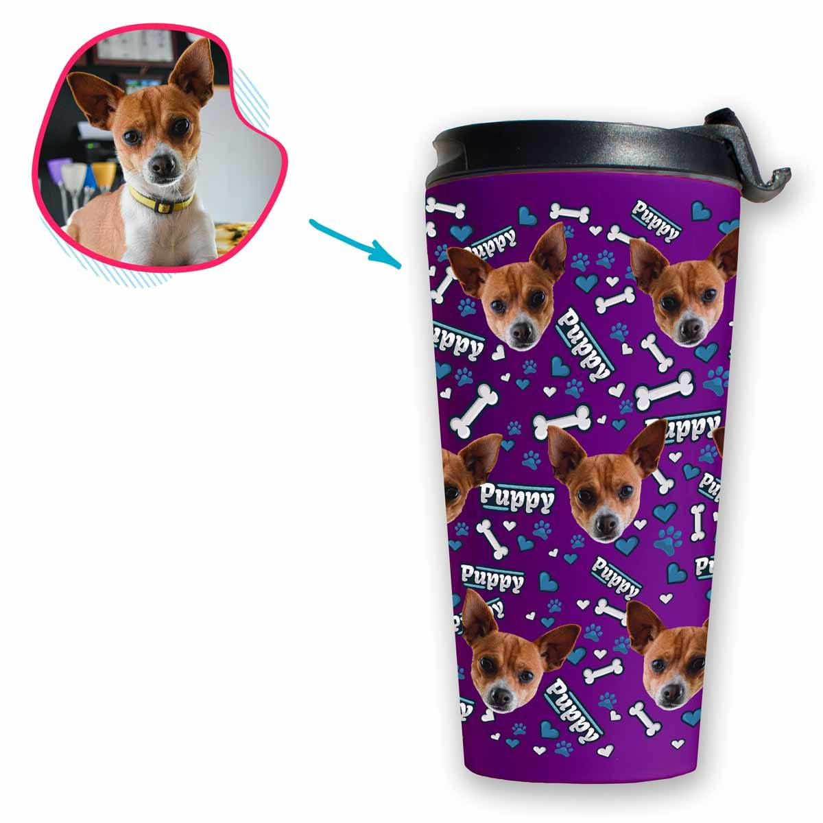 purple Puppy travel mug personalized with photo of face printed on it