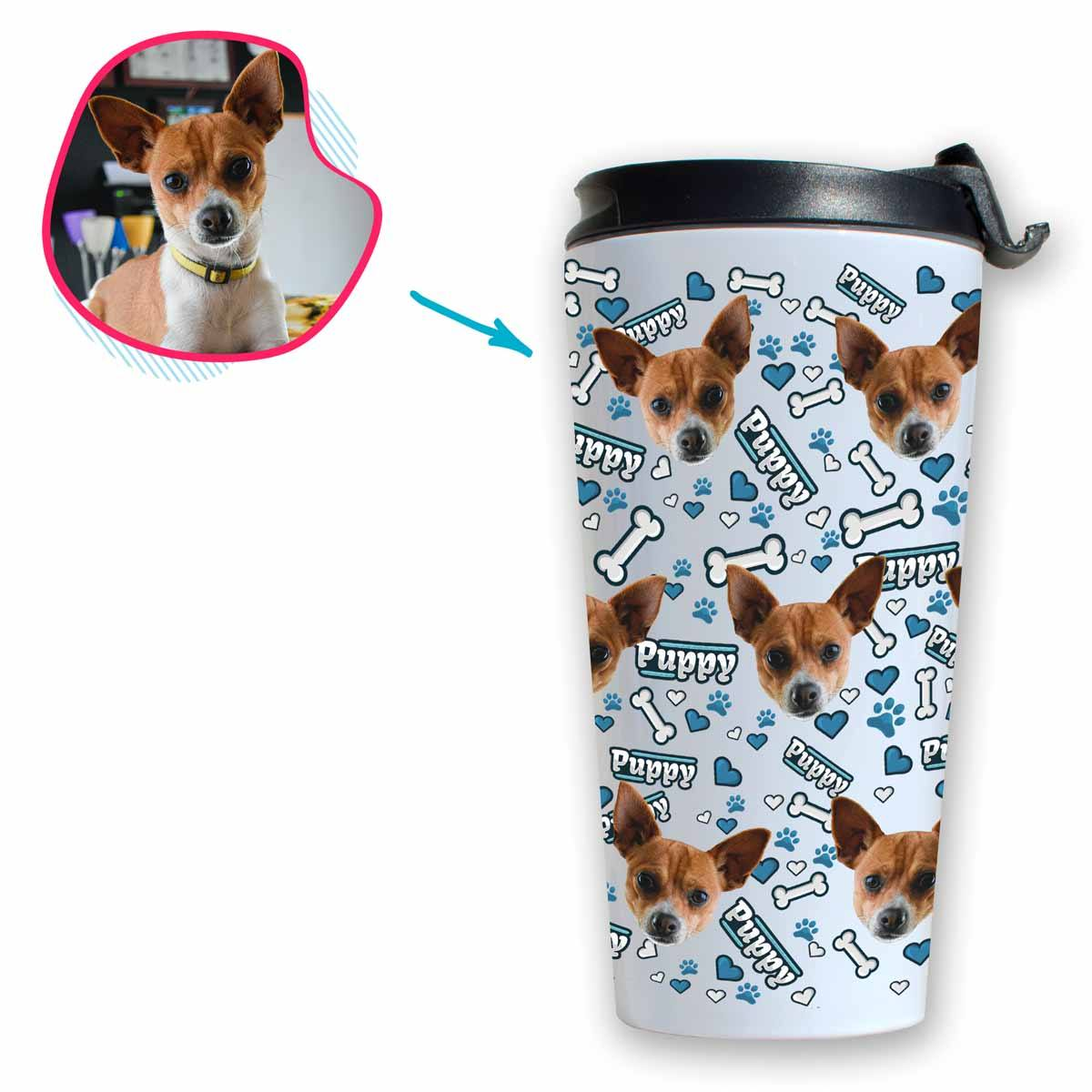white Puppy travel mug personalized with photo of face printed on it