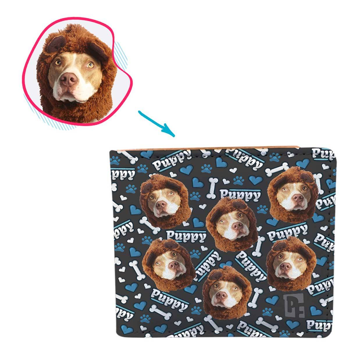 dark Puppy wallet personalized with photo of face printed on it