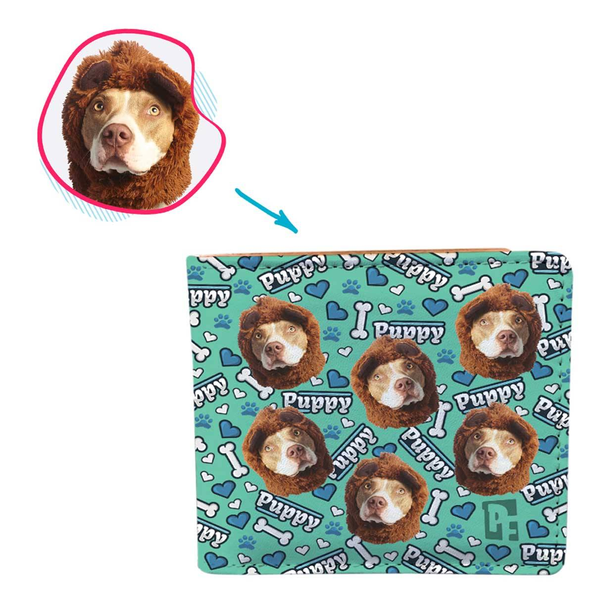mint Puppy wallet personalized with photo of face printed on it