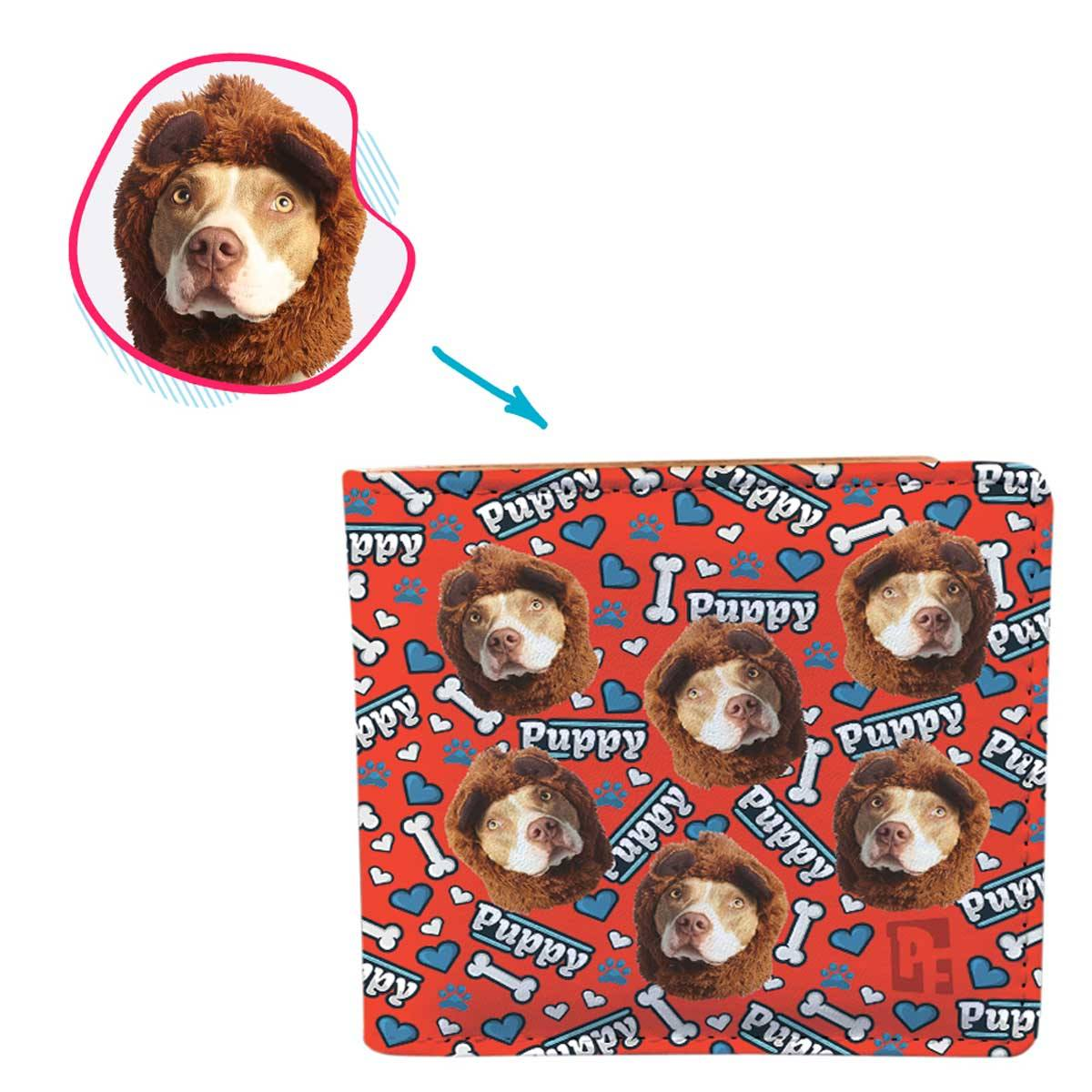 red Puppy wallet personalized with photo of face printed on it