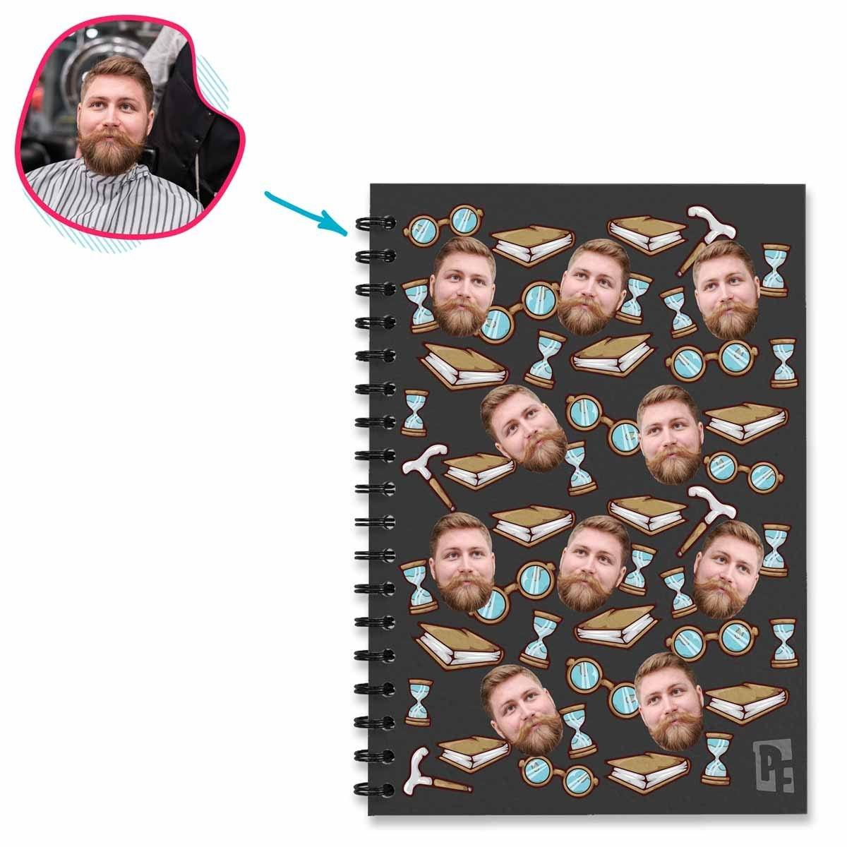 Dark Auntie personalized notebook with photo of face printed on them