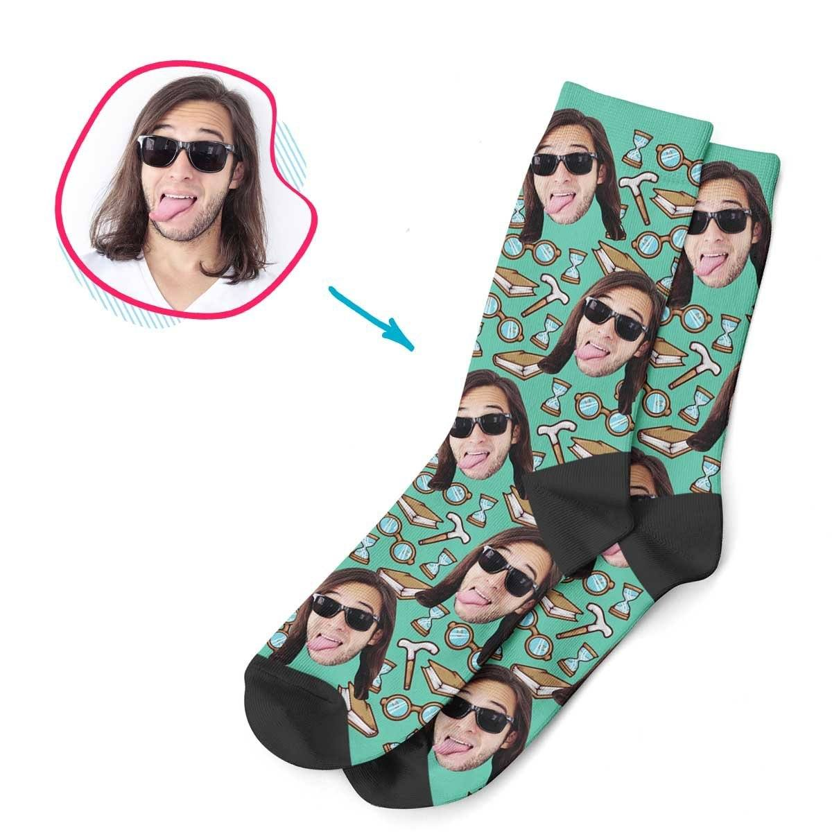 Mint Retirement personalized socks with photo of face printed on them