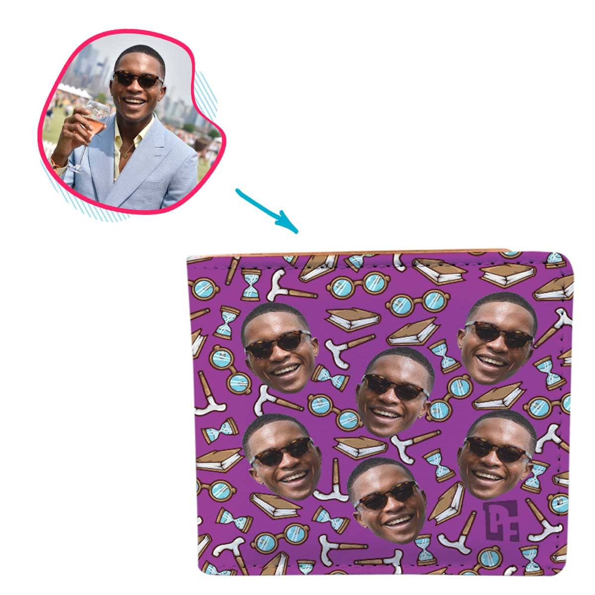 Purple Retirement personalized wallet with photo of face printed on it