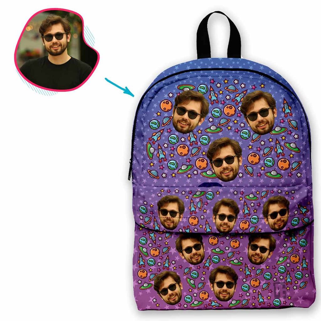 rockets classic backpack personalized with photo of face printed on it