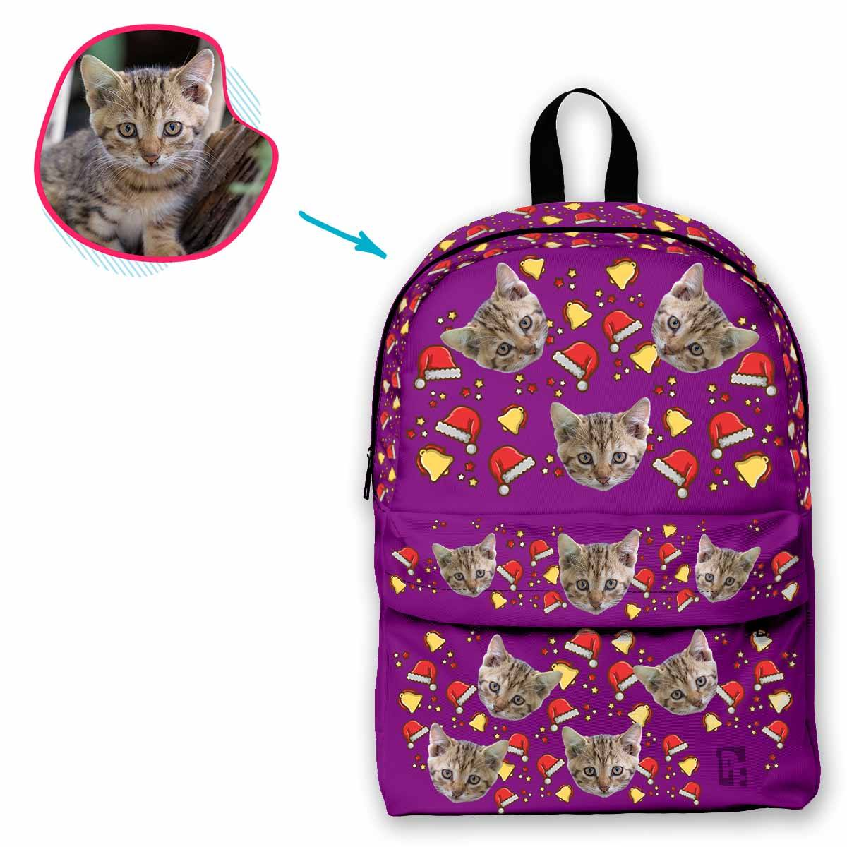 purple Santa's Hat classic backpack personalized with photo of face printed on it