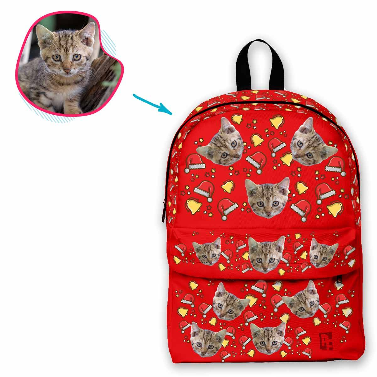 red Santa's Hat classic backpack personalized with photo of face printed on it
