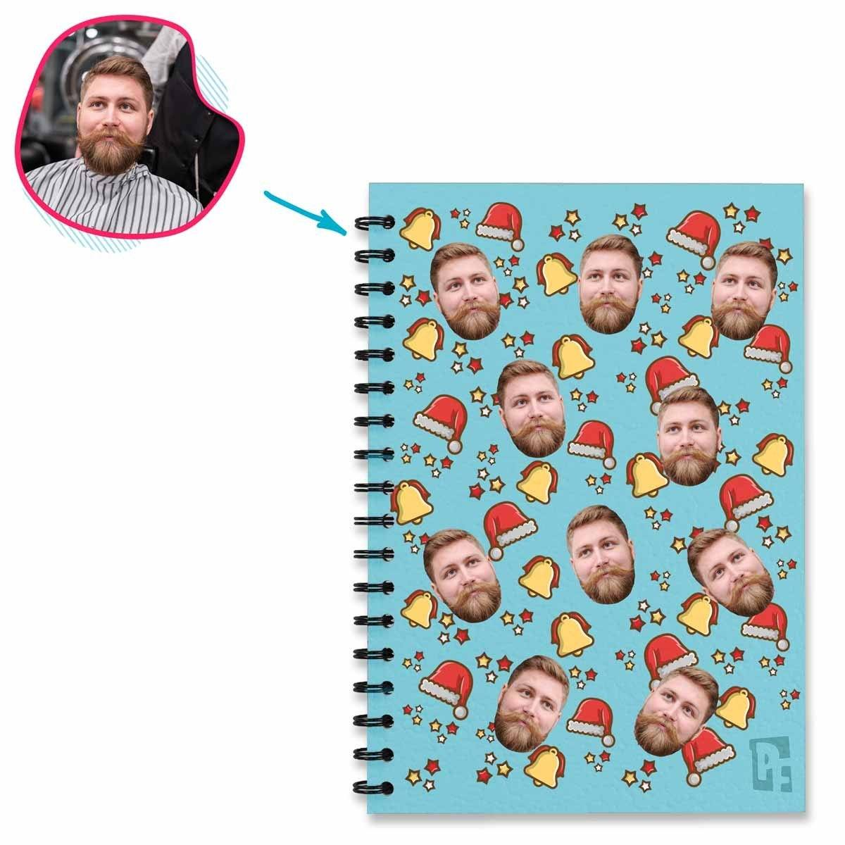 blue Santa's Hat Notebook personalized with photo of face printed on them