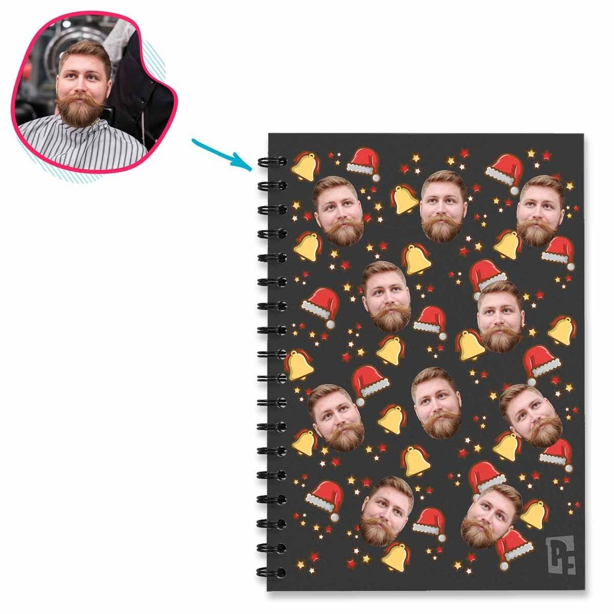 dark Santa's Hat Notebook personalized with photo of face printed on them