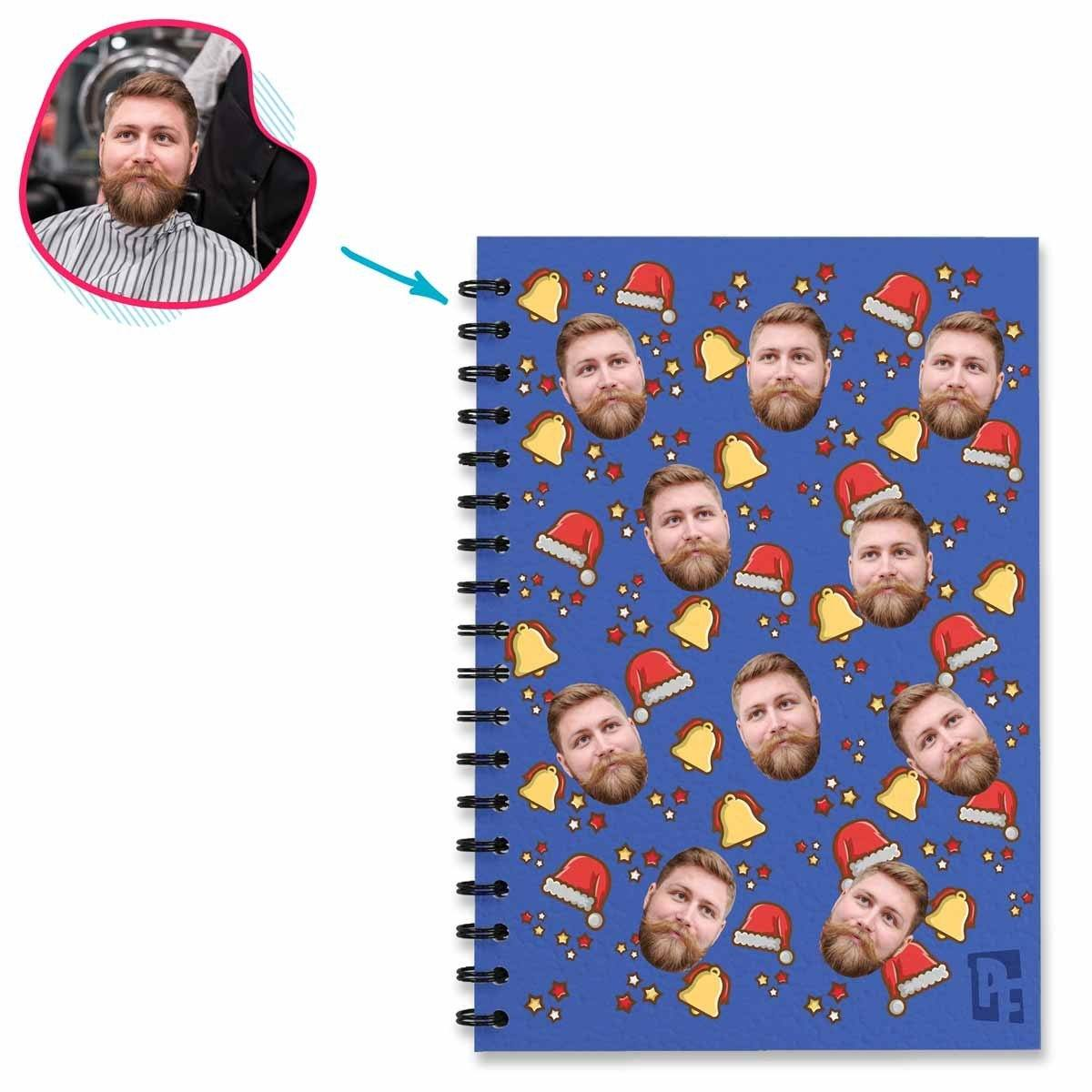 darkblue Santa's Hat Notebook personalized with photo of face printed on them