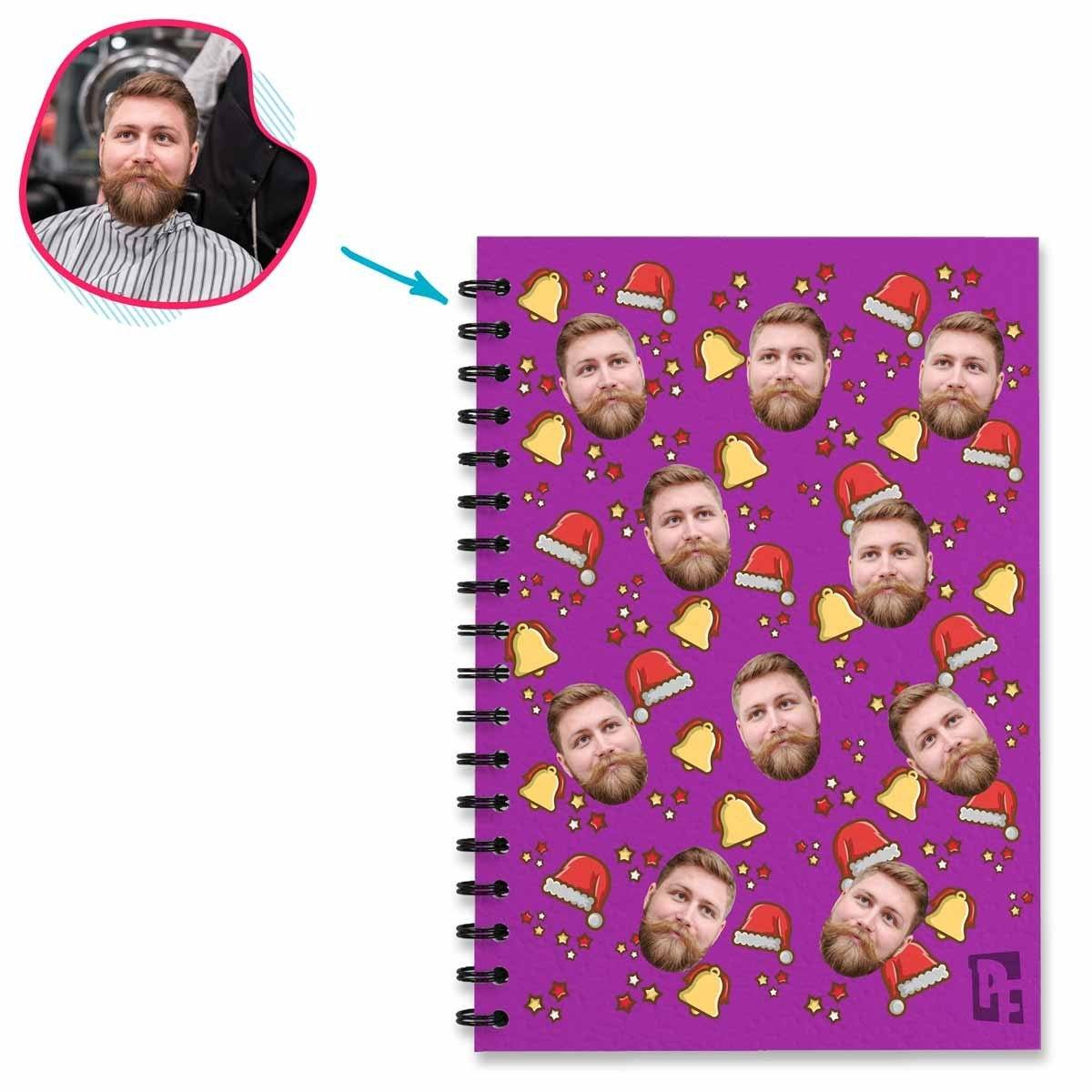 purple Santa's Hat Notebook personalized with photo of face printed on them