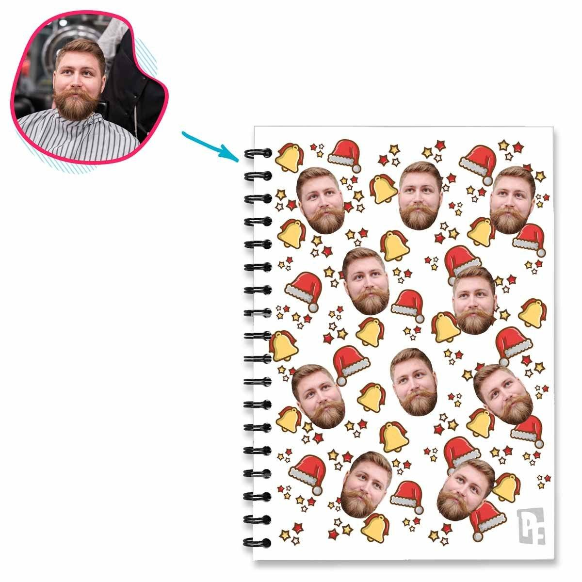 white Santa's Hat Notebook personalized with photo of face printed on them
