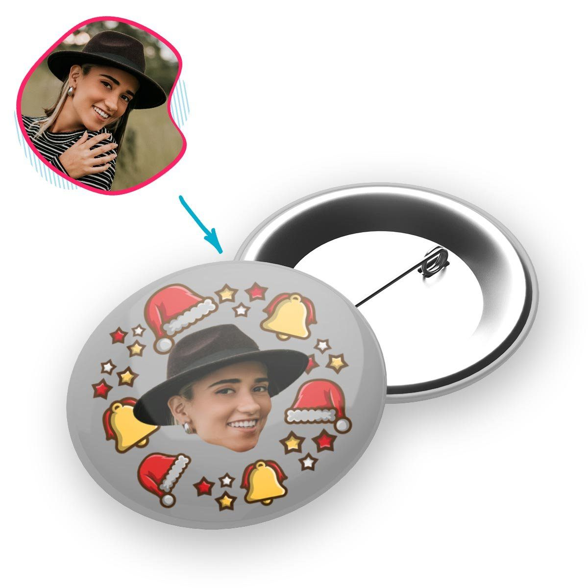 grey Santa's Hat pin personalized with photo of face printed on it