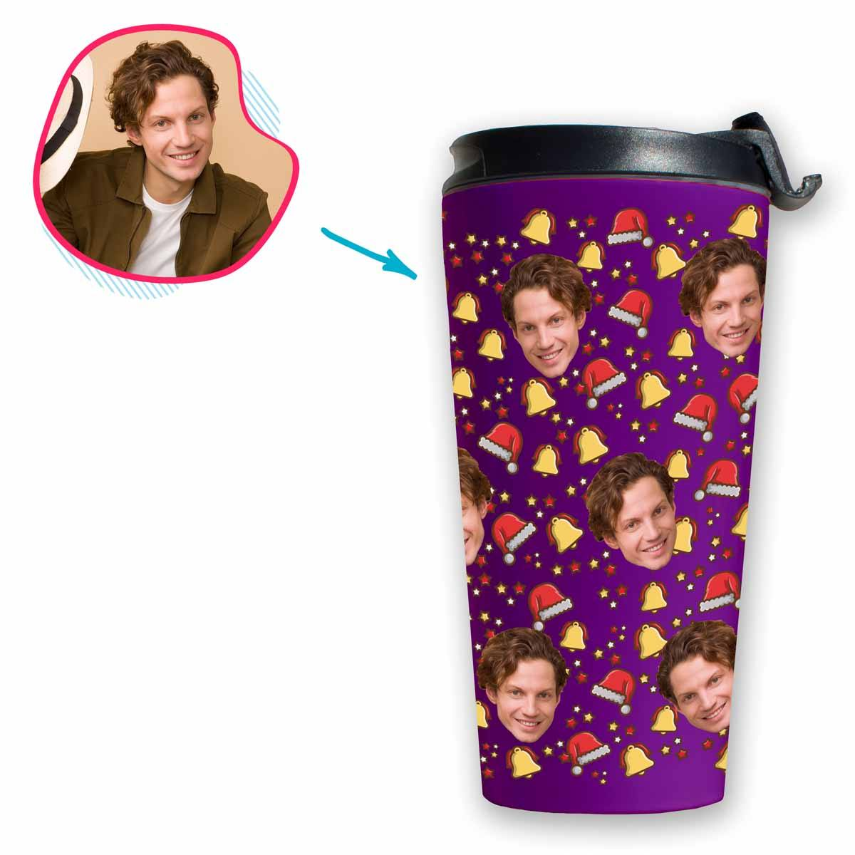 purple Santa's Hat travel mug personalized with photo of face printed on it