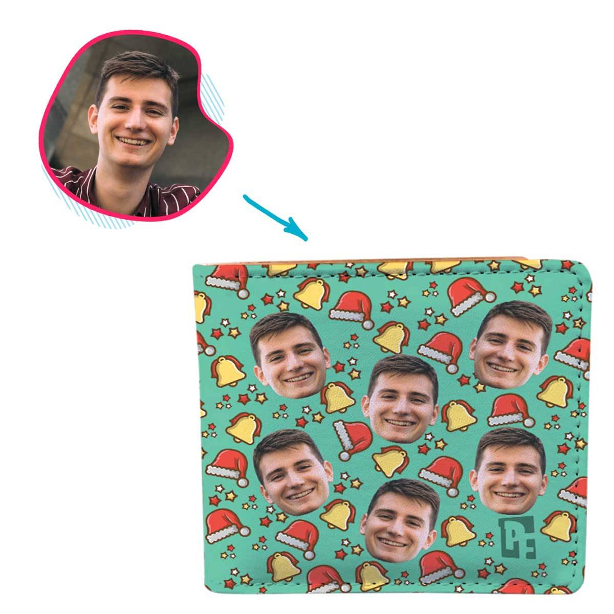 mint Santa's Hat wallet personalized with photo of face printed on it