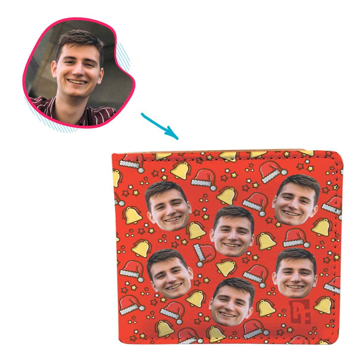 red Santa's Hat wallet personalized with photo of face printed on it