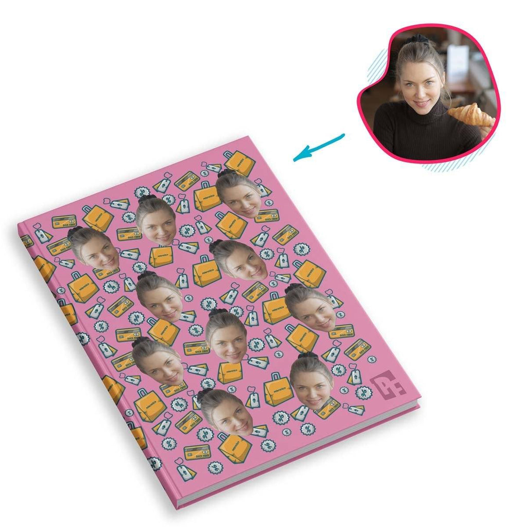 pink Shopping Notebook personalized with photo of face printed on them