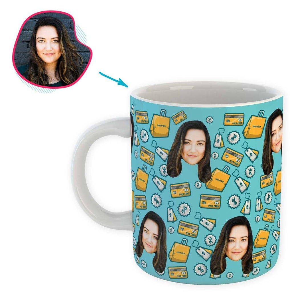 blue Shopping mug personalized with photo of face printed on it
