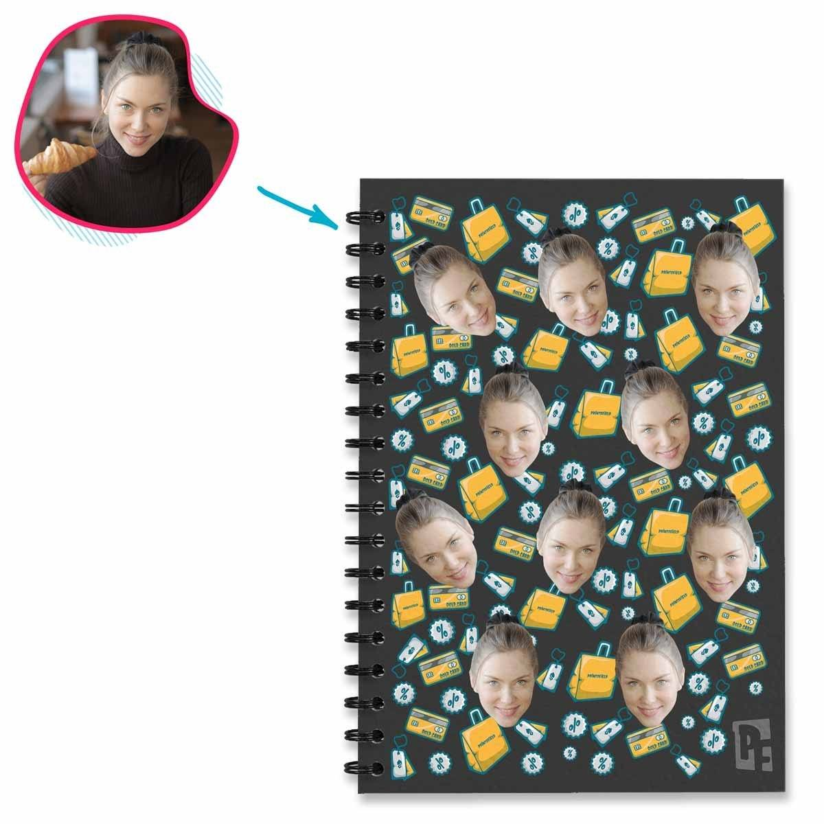 dark Shopping Notebook personalized with photo of face printed on them