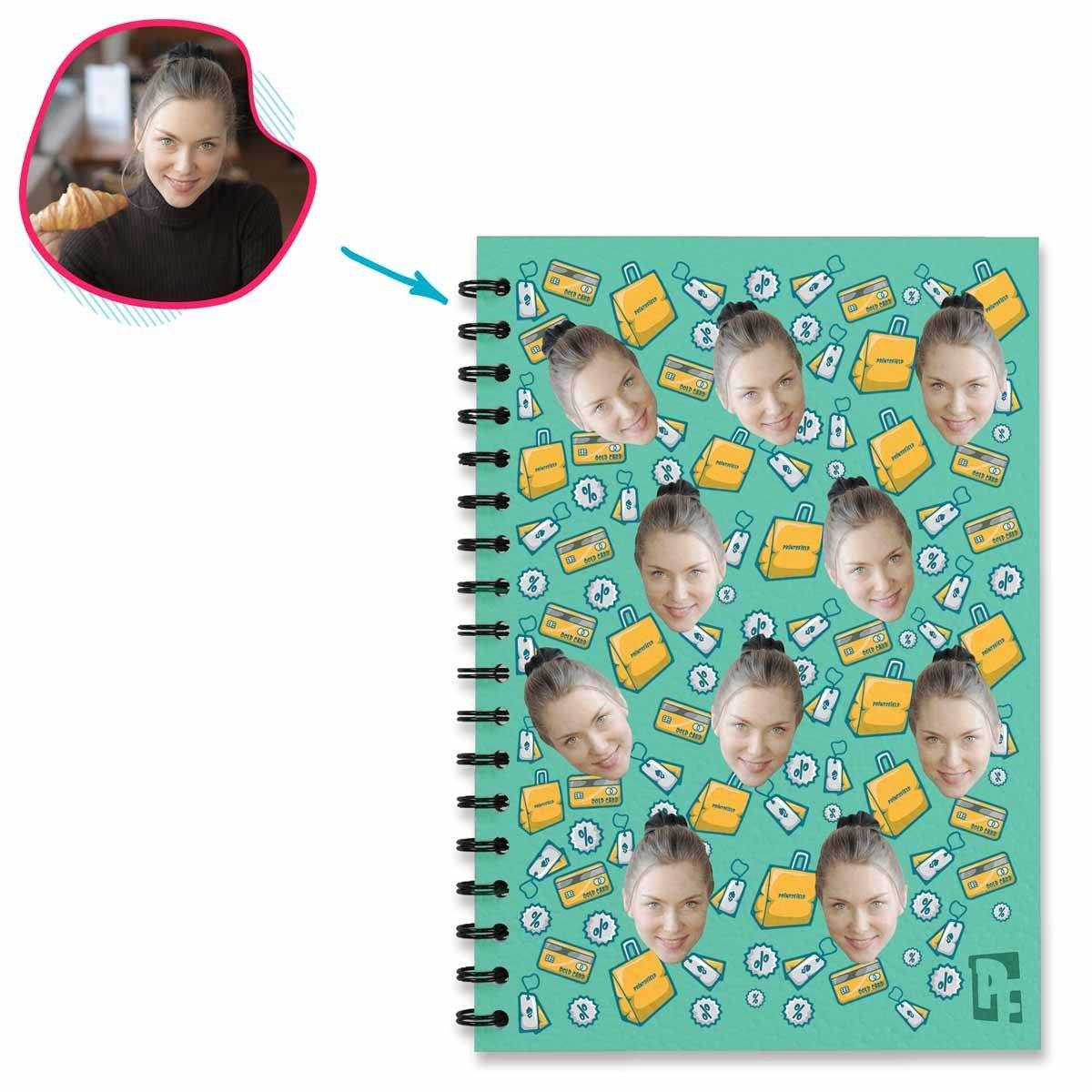 mint Shopping Notebook personalized with photo of face printed on them