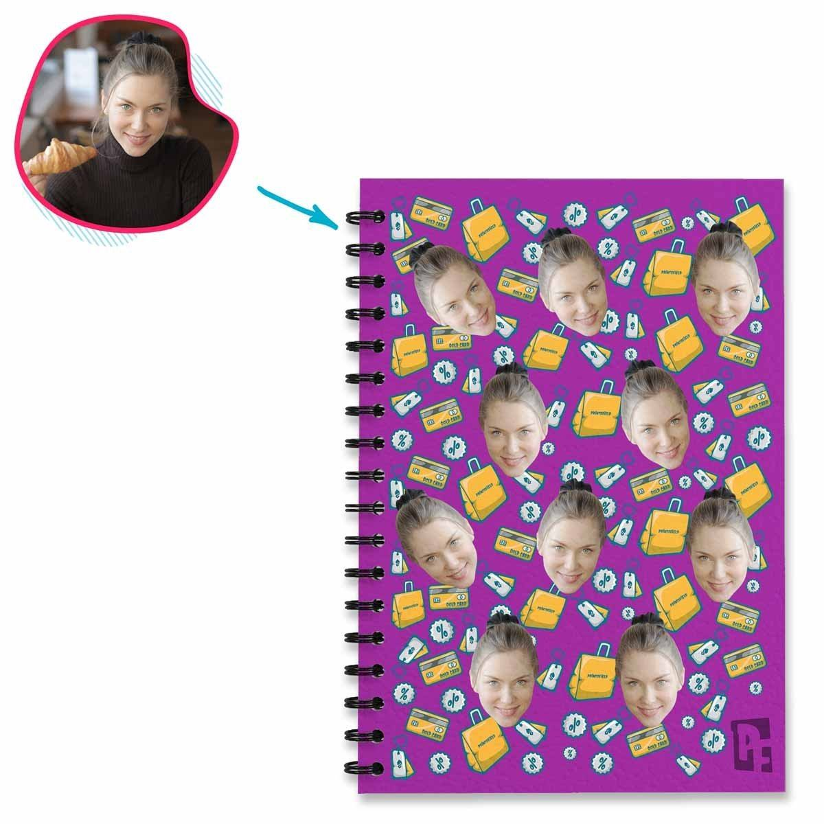purple Shopping Notebook personalized with photo of face printed on them
