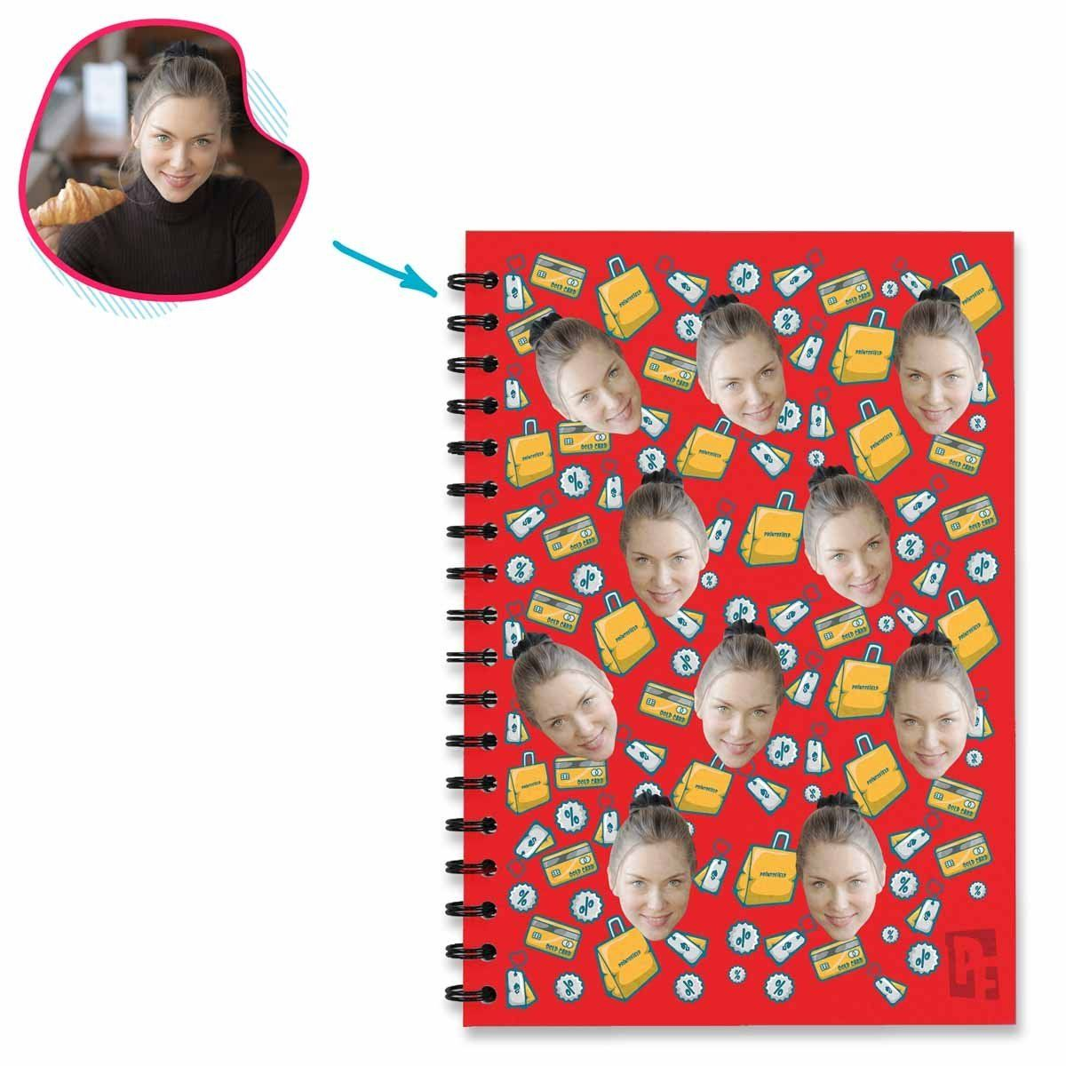 red Shopping Notebook personalized with photo of face printed on them
