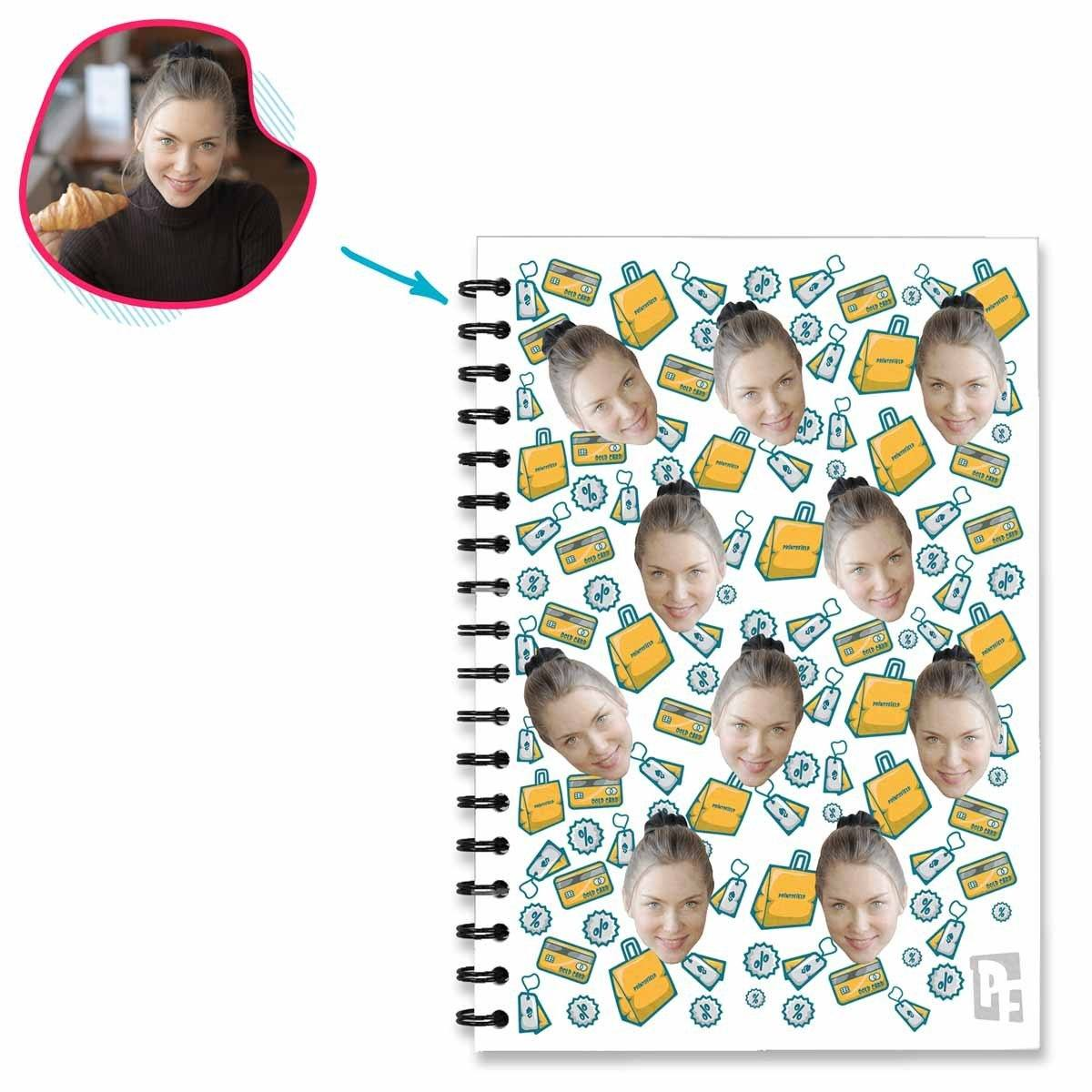 white Shopping Notebook personalized with photo of face printed on them