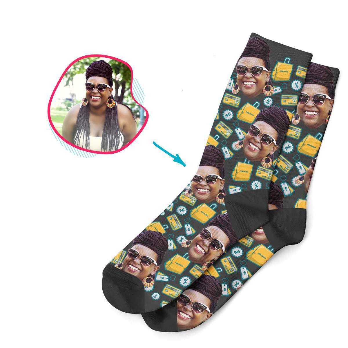dark Shopping socks personalized with photo of face printed on them