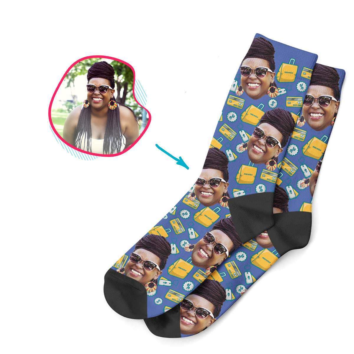 darkblue Shopping socks personalized with photo of face printed on them