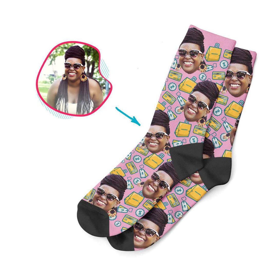 pink Shopping socks personalized with photo of face printed on them