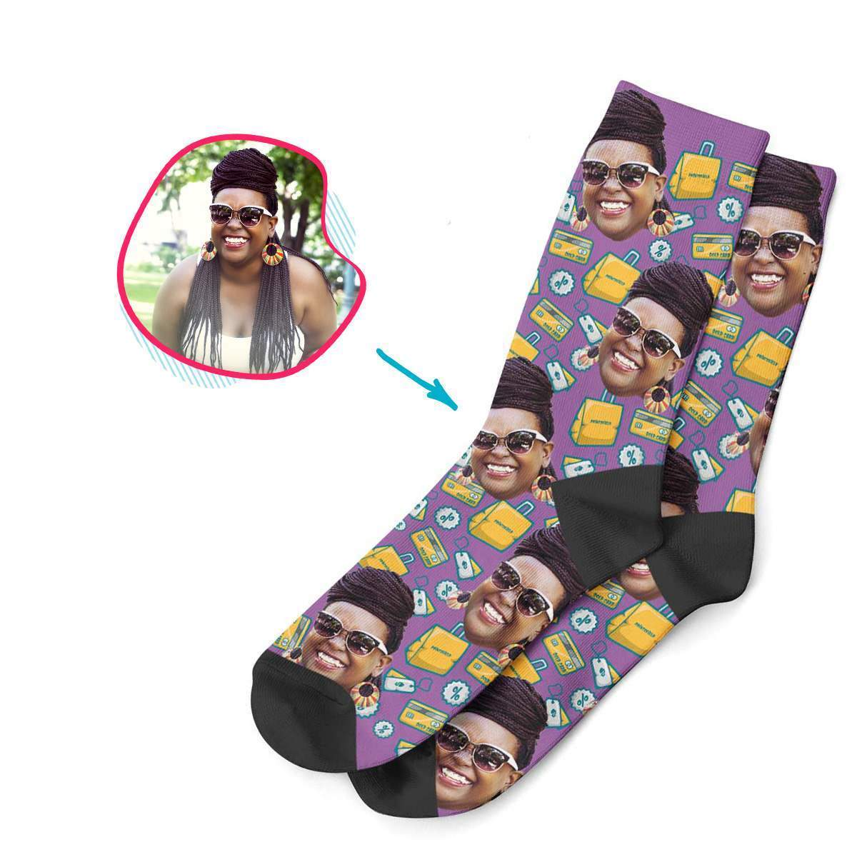 purple Shopping socks personalized with photo of face printed on them