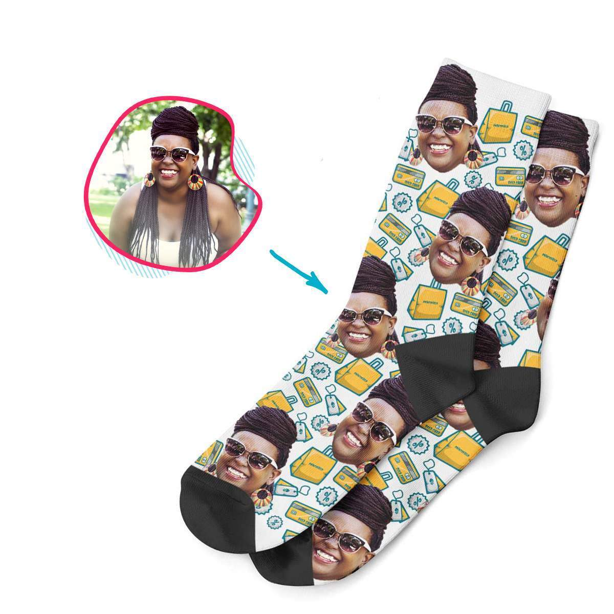 white Shopping socks personalized with photo of face printed on them