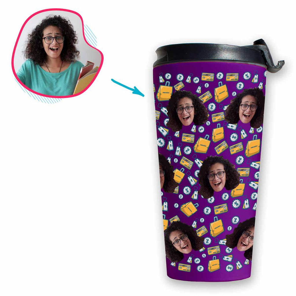 purple Shopping travel mug personalized with photo of face printed on it
