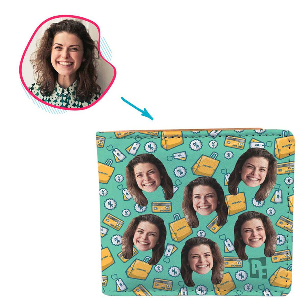 mint Shopping wallet personalized with photo of face printed on it