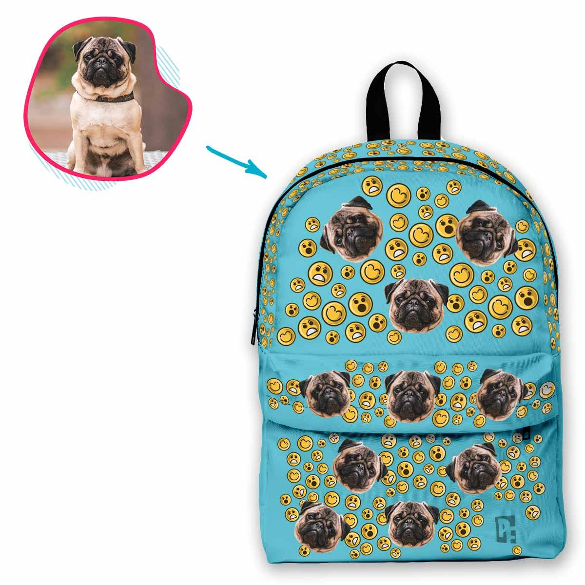 blue Smiles classic backpack personalized with photo of face printed on it